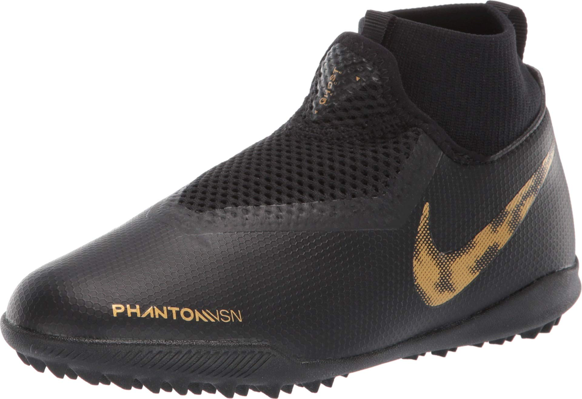 Nike Youth Phantom Vision Academy Dynamic Fit Turf Soccer Cleats-Black-Gold (6Y)