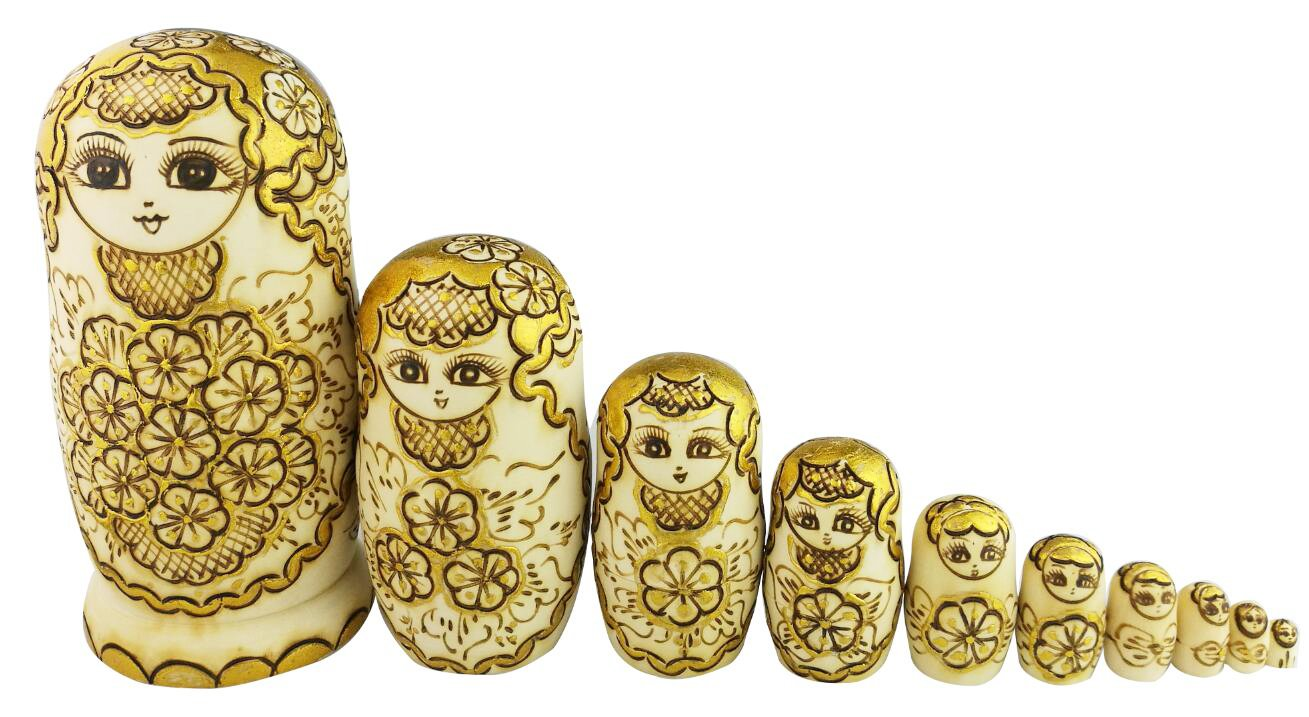 Winterworm Beautiful Attractive Adorable Exotic Glossy Yellow Gold Flower Pattern Handmade Wooden Russian Nesting Dolls Matryoshka Dolls Set 10 Pieces for Kids Toy Birthday by Winterworm (Image #3)