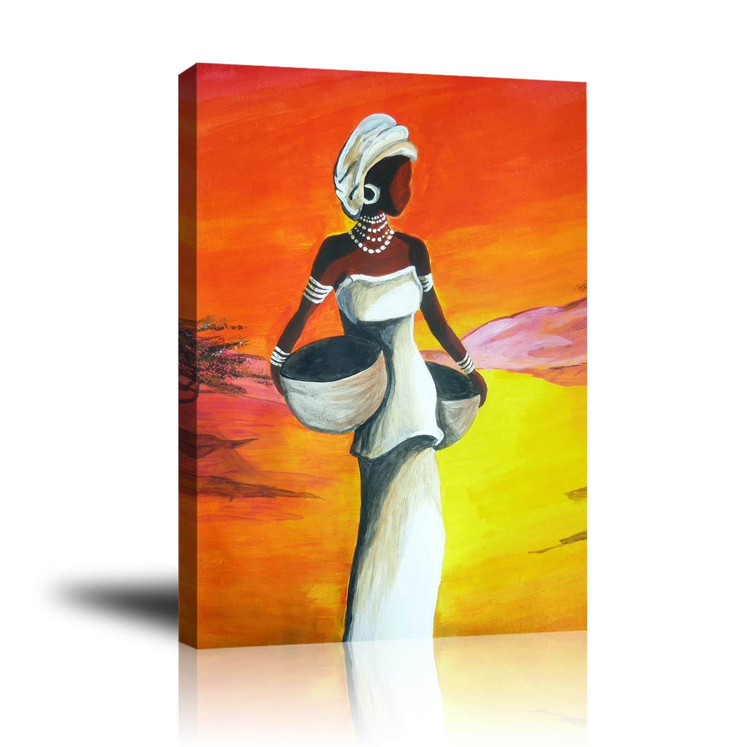 Premium Canvas Wall Art, Abstract Art White Elegant Woman Holding Cylinder Painting, Modern Decorative Artwork for Bedroom Living Room Home Decor, Stretched and Unframed Ready to Hang 16 x 20 inch