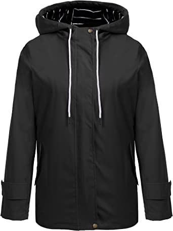 Zeagoo - Chubasquero para mujer, chaqueta de entretiempo, cortavientos, chaqueta con capucha, chubasquero, parka impermeable, transpirable