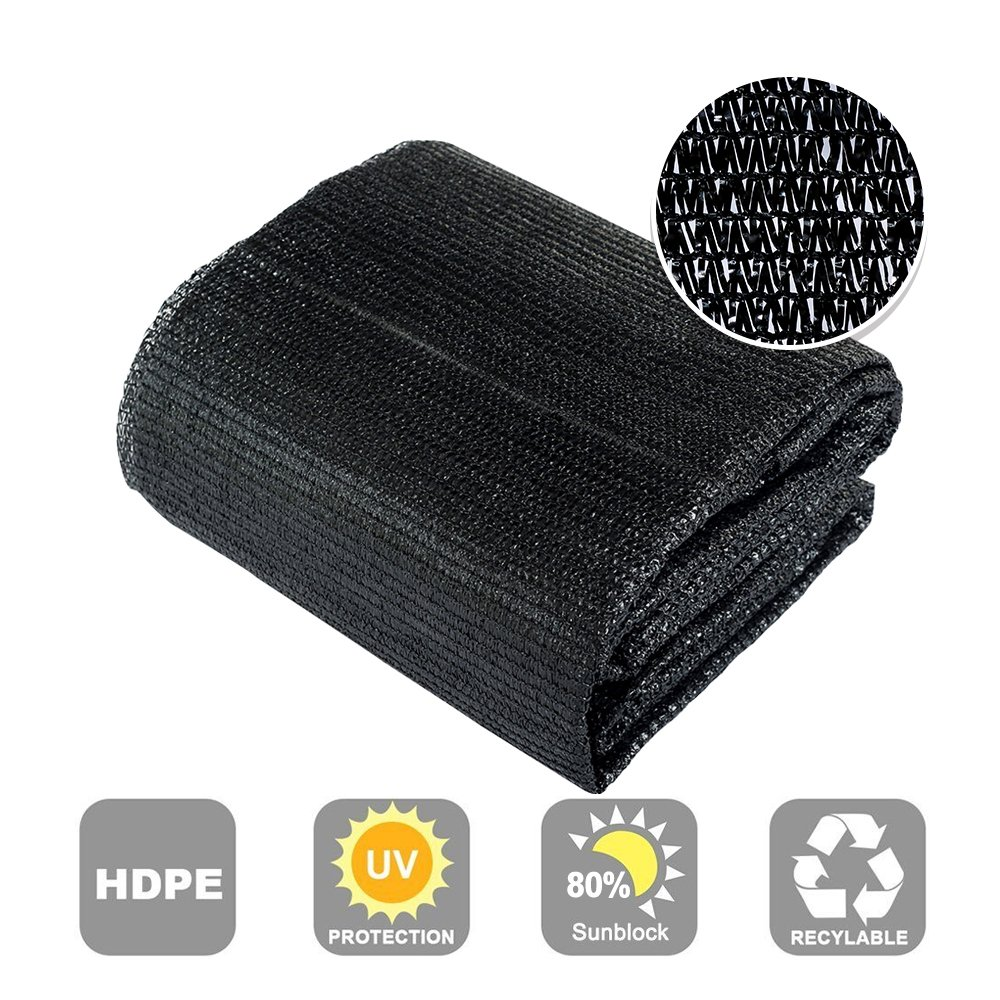 Agfabric 80% Sunblock Shade Cloth Cover with Clips for Plants 10' X 20', Black