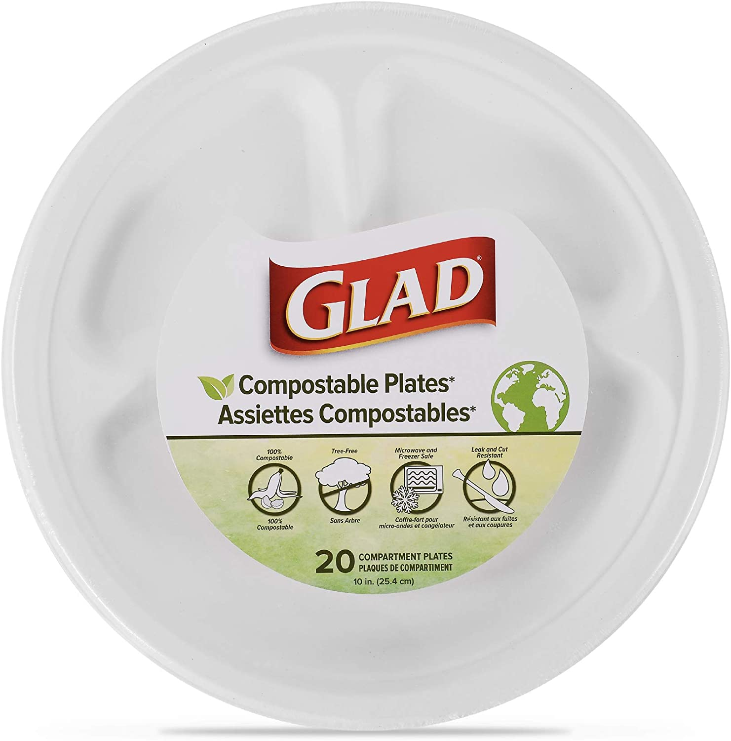 Compostable Compartment Plates | 10-Inch Divided Plates for Adults and Kids, 20 Count | Sugarcane Plates, Microwavable and Freezer Safe, Leak & Cut-Resistant Disposable Plates