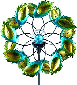 Solar Wind Spinner-Outdoor Metal Kinetic Garden Wind Spinners with Multi-Color LED Lighting by Solar Powered Glass Ball - Decorative Lawn Ornament Wind Mills - Unique Outdoor Lawn and Garden Décor