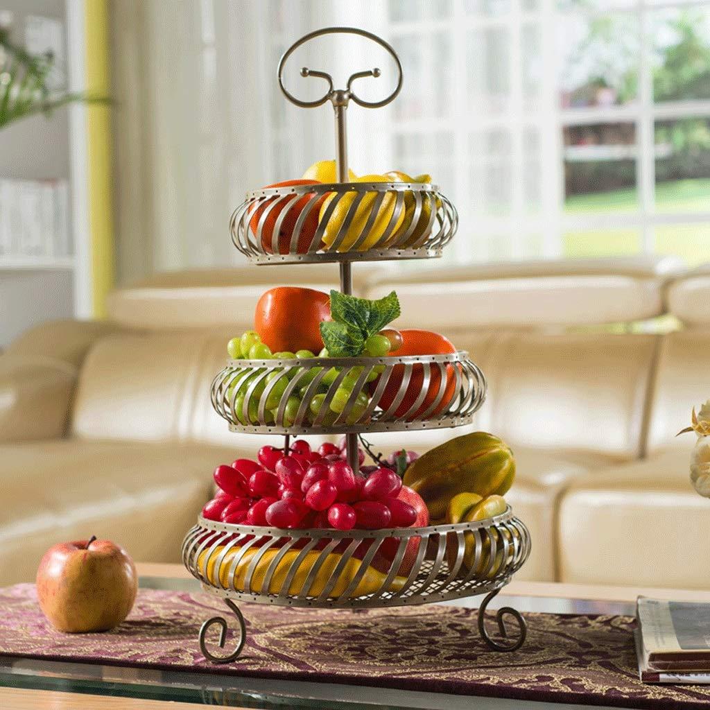 SLH マルチストーリーファッショナブルで創造的なフルーツ盛り合わせの居間ホームキッチン収納ラック乾燥した果物のスナックスナック盆地の3つの層  Champagne B07GNG1SKJ
