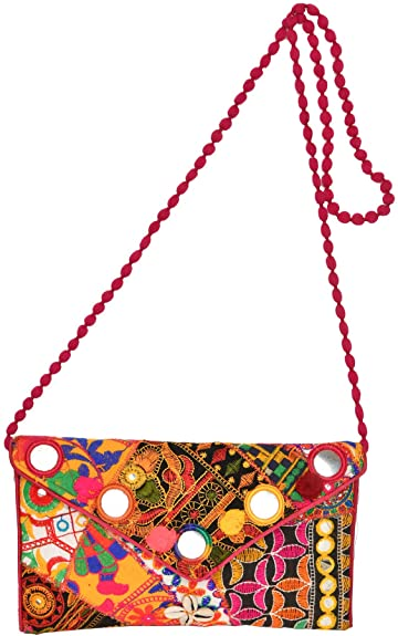 Lot of Five Hand Bags from Kutch with Embroidered Mirrors - Pure Cotton Exotic India CLAn7gv