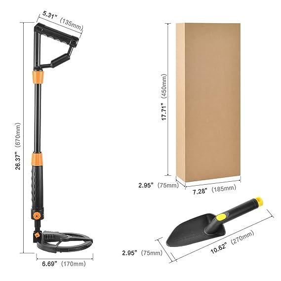 Detector de metales ligero para niños, profundidad de detección 10-60cm Sensibilidad ajustable y volumen Digger con pala: Amazon.es: Jardín