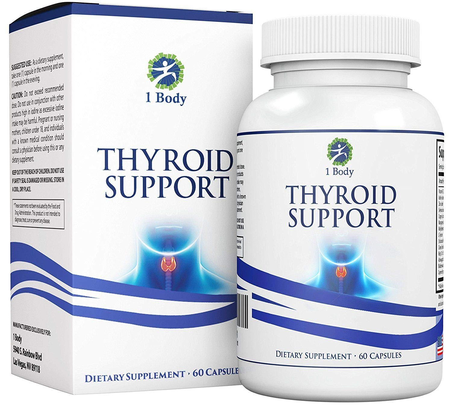 Thyroid Support - Best Natural Thyroid Supplement, 60 Tablets