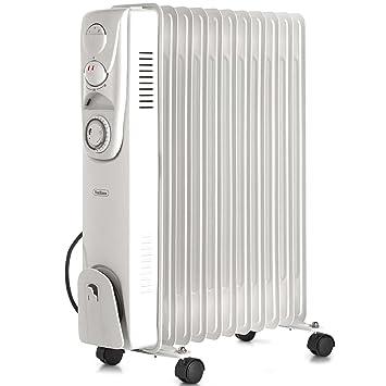 VonHaus Radiador de Aceite 2500 W - 3 Ajustes de Potencia, Termostato Ajustable, Temporizador de 24 Horas y 11 Elementos: Amazon.es: Hogar