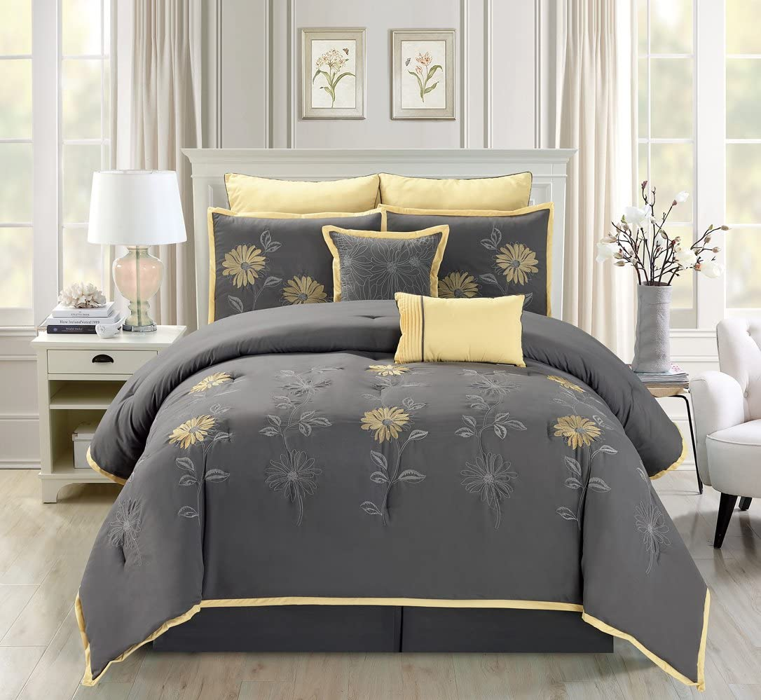 7 Piece Modern Oversize Grey / Yellow Sunflower Embroidered Comforter set California CAL KING Size Bedding
