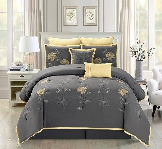 Amazon Com Grand Linen 7 Piece Modern Oversize Grey Yellow