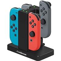 Redlemon Cargador para Controles Joy-con de Nintendo Switch (4 Controles), con Indicadores LED, Rieles con Superficie de…