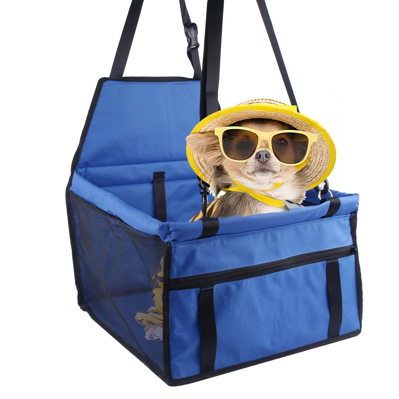 Minve Autositz fü r Haustiere, faltbare und wasserdichte Transportbox mit Befestigungsgurten und Tasche, fü r Hunde Und Katzen