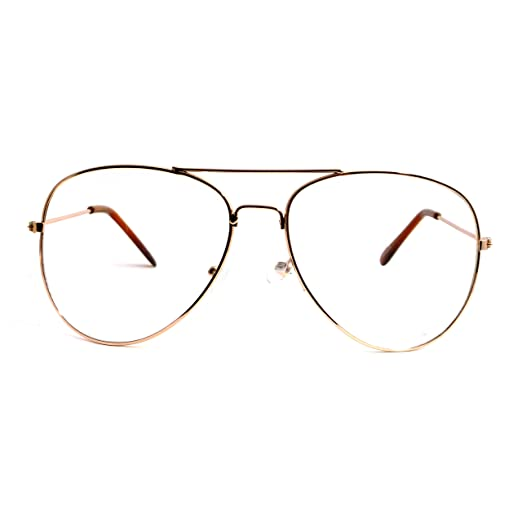 a4156b0eace Image Unavailable. Image not available for. Color  VINTAGE Aviator Retro  Metal Square Frame Clear Lens Eye Glasses GOLD