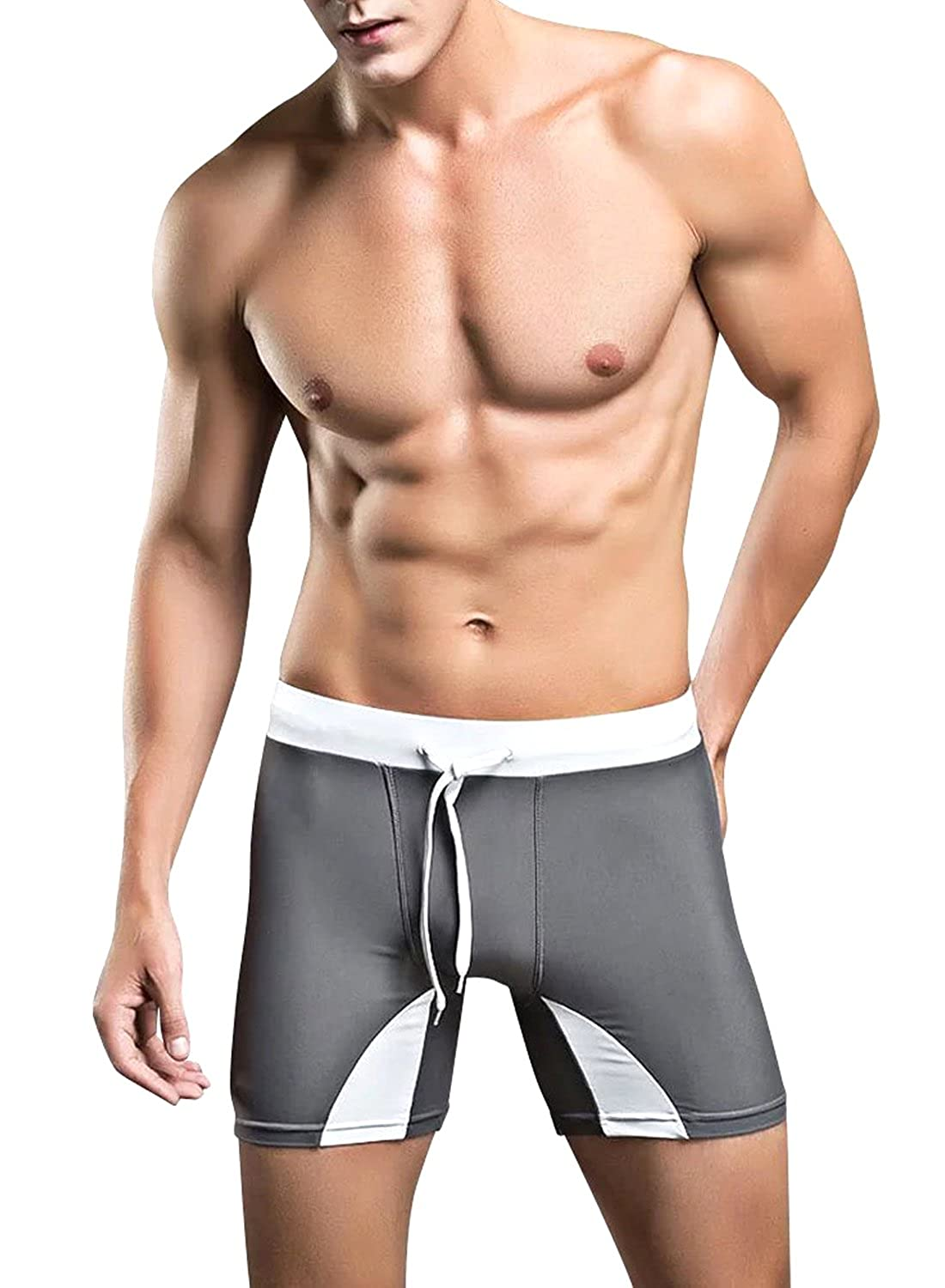 f5c437f3a7844 Amazon.com: Men's Splicing Square Cut Swimsuit Shorts with Drawstring:  Clothing