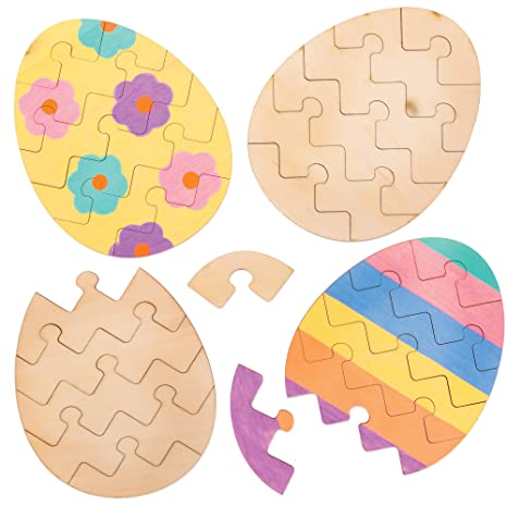 Baker Ross AT443 Easter Egg Wooden Puzzles - Pack of 5, Creative Easter Art and Craft Supplies for Kids to Make and Decorate