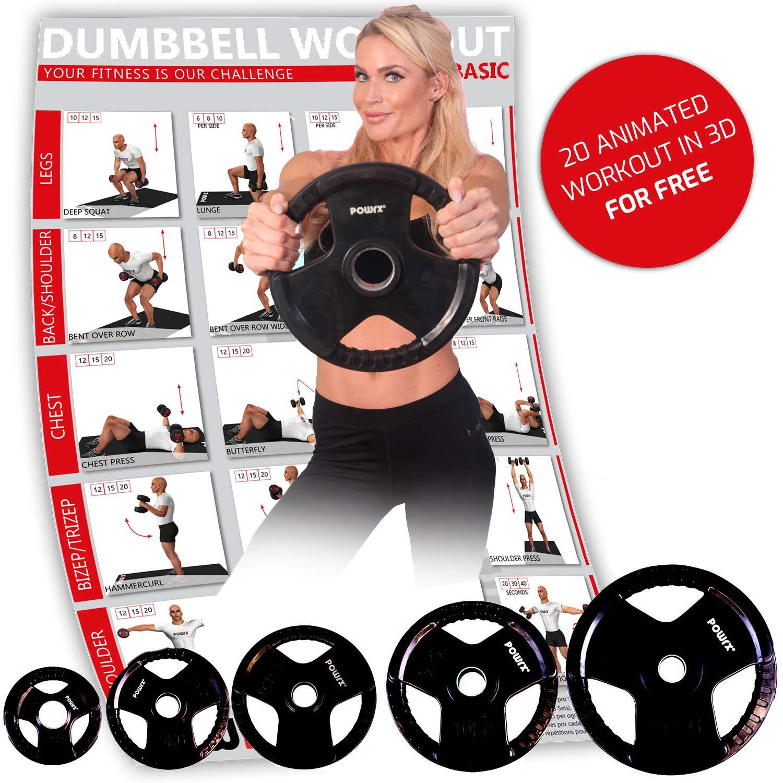 POWRX Discos olímpicos 5-40 kg Set - Pesas Ideales para Mancuernas y Barras olímpicas diámetro 51 mm (Negro)
