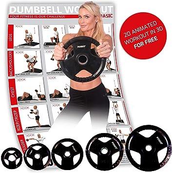 POWRX Discos olímpicos 5-40 kg - Pesas Ideales para Mancuernas y Barras olímpicas con diámetro 51 mm (2 x 15 kg): Amazon.es: Deportes y aire libre