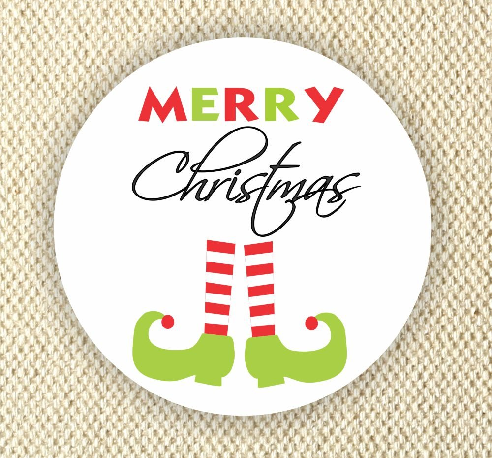 Merry Christmas Labels.Amazon Com Merry Christmas Favor Stickers Enveloped Seal