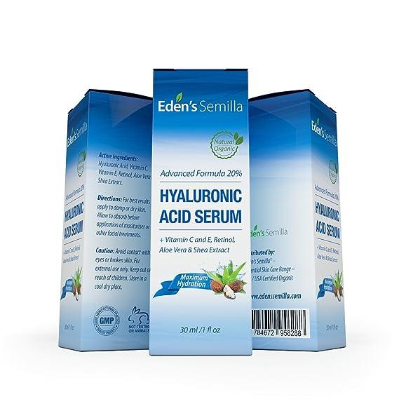Ácido Hialurónico Serum - 30ml - Es el mejor anti-edad hidratante para el cutis. Ayuda a reducir las arrugas faciales. Contiene Vitamina C, Retinol y ...
