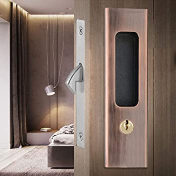 Ccjh Sliding Door Locks Invisible Door Locks Wooden Door Lock Furniture Hardware Red Copper Home Improvement