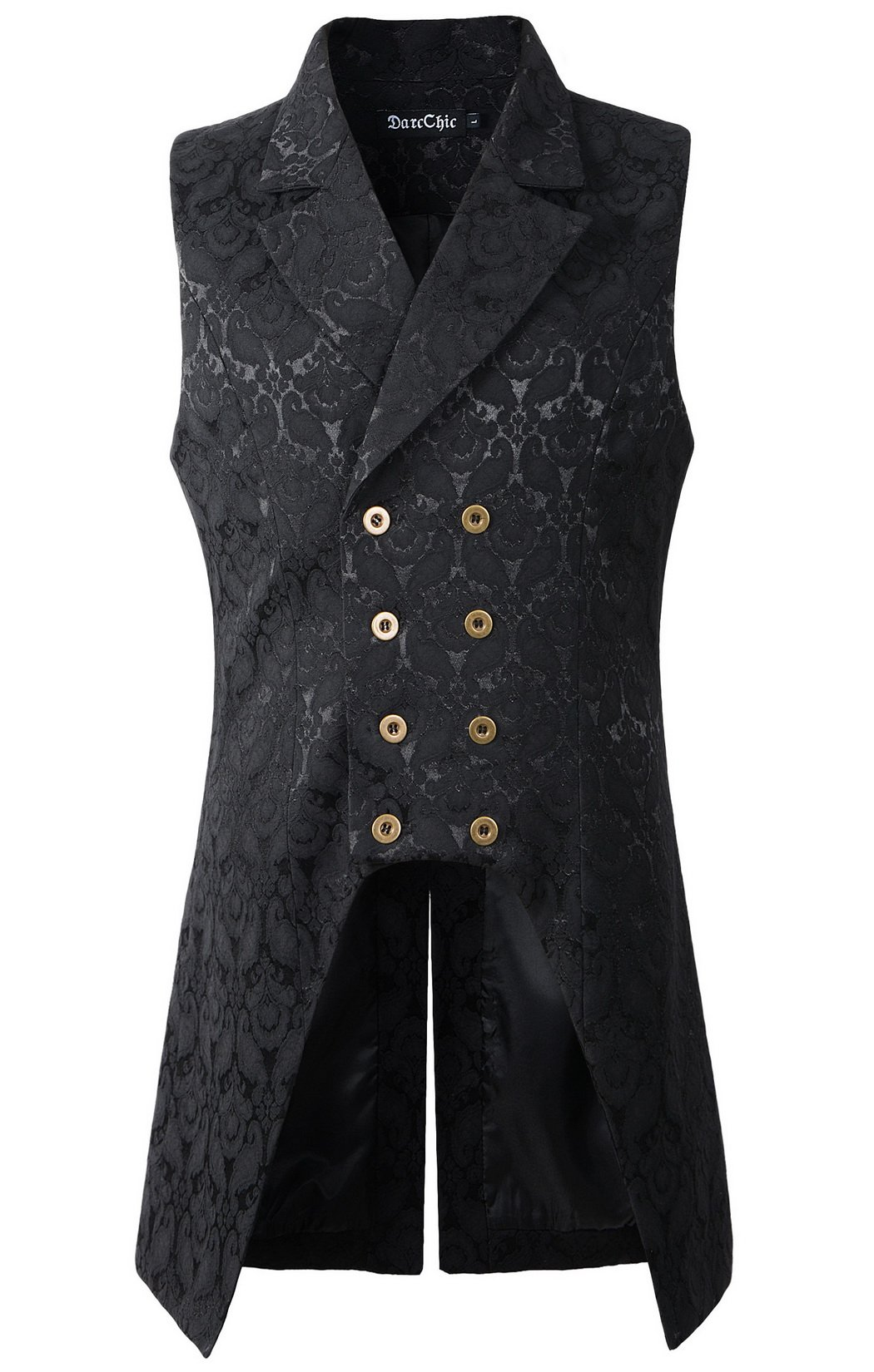 DarcChic Mens Double Breasted Vest Waistcoat VTG Brocade Gothic Steampunk (XL, Black) by DarcChic