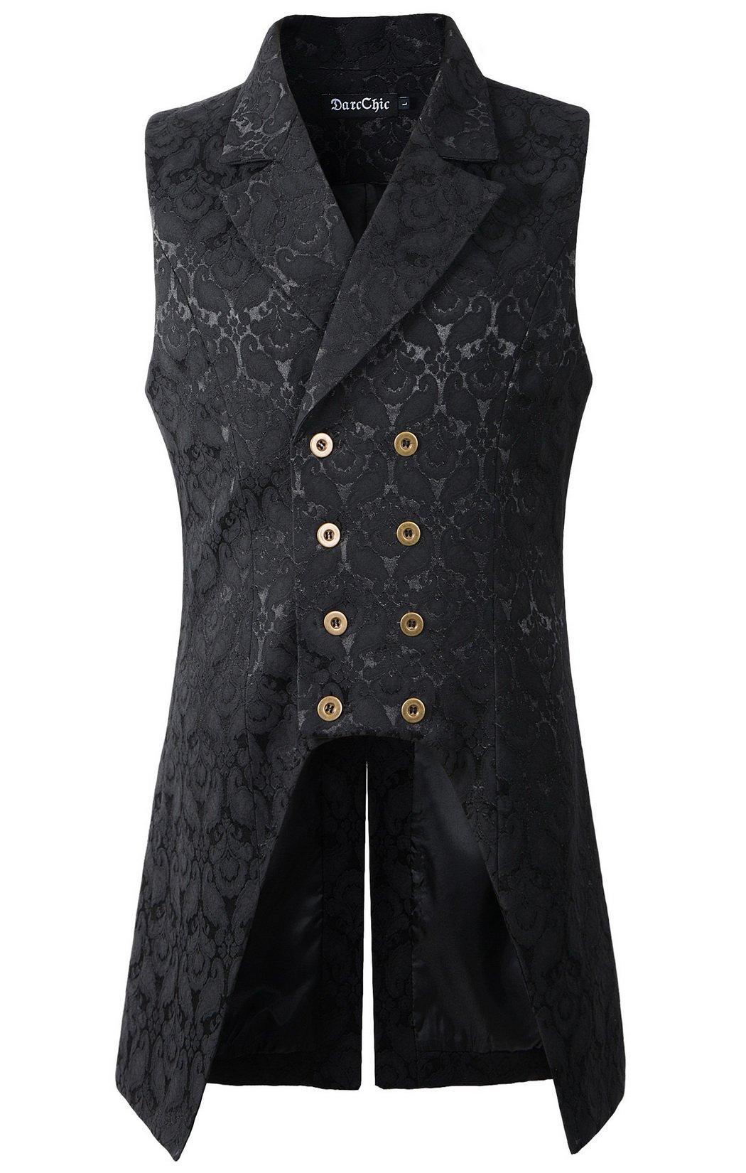 DarcChic Mens Double Breasted Vest Waistcoat VTG Brocade Gothic Steampunk (L, Black)