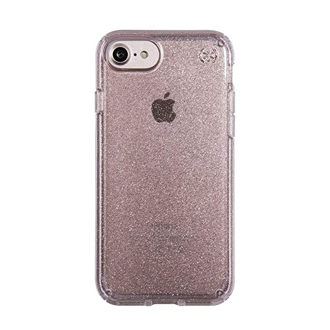 sale retailer 5a0f7 57fb6 Speck Products Presidio Clear + Glitter Cell Phone Case for iPhone 7,  iPhone 6/6S - Gold Glitter/Rose Pink Clear