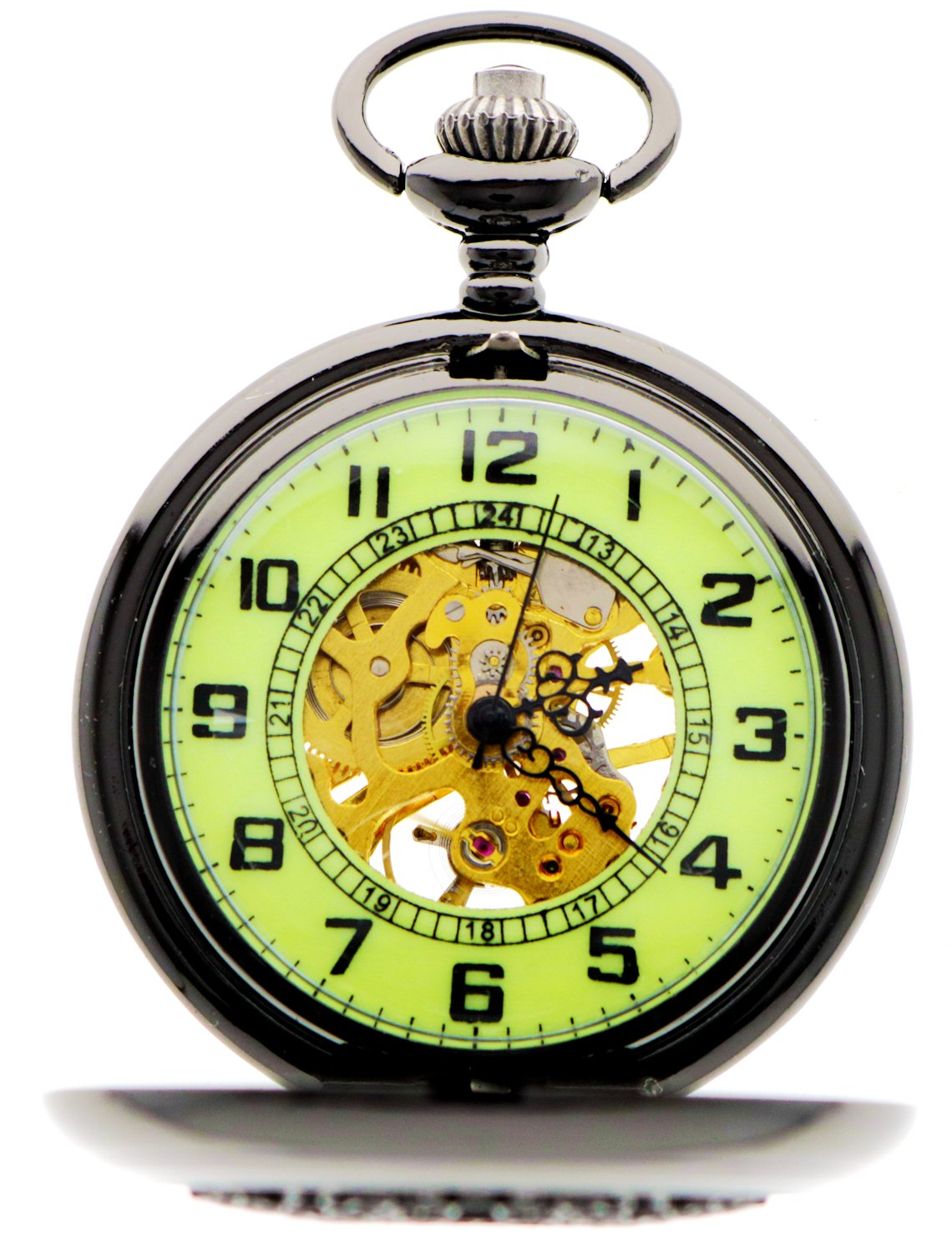 Steampunk Vintage Roman Letters Design Case Mechanical Pocket Watch with Chains for Xmas Gifts 4