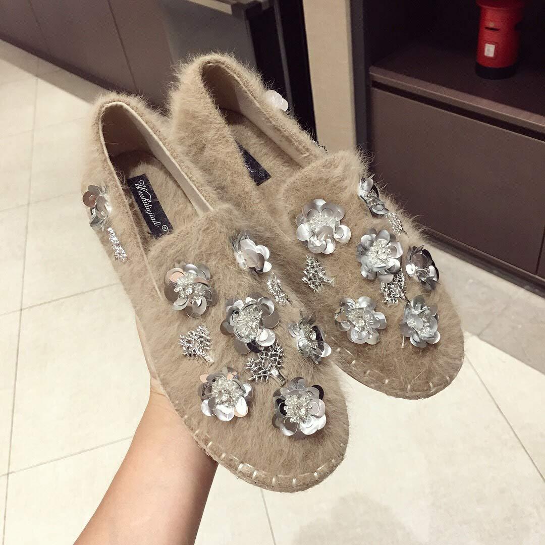 HBDLH Damenschuhe Flache Flache Flache Sohle Einzelne Schuhe Herbst Frauen Perlen Blaumen Wolle Die Schuhe Flanell Pedale Faul Schuhe 13b897