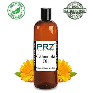 PRZ Calendula Essential Oil (500ML) - Pure Natural Skin Care & Hair Growth