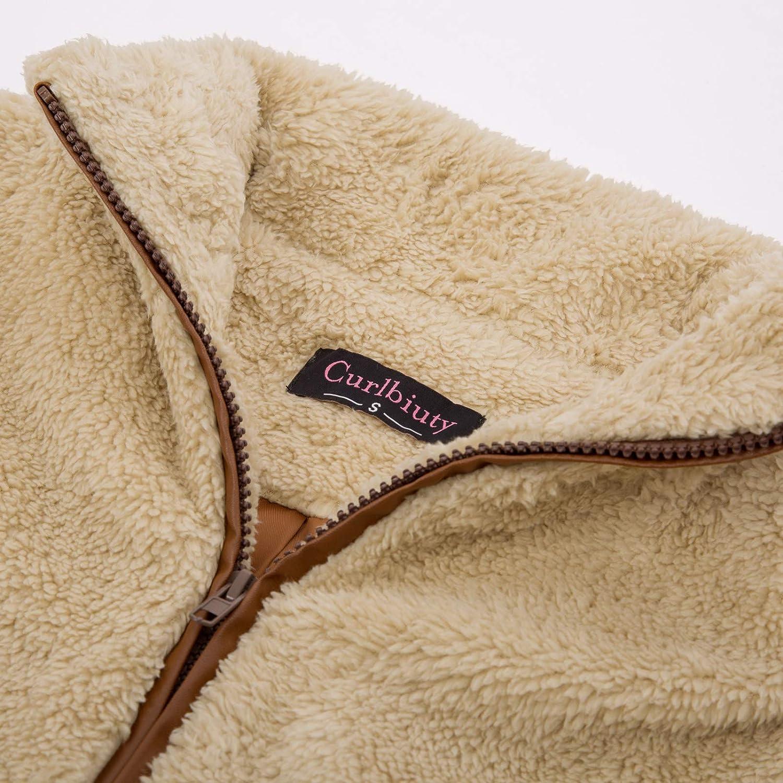 CURLBIUTY Women Casual Zip up Sherpa Fleece Lightweight Warm Vest with Pockets