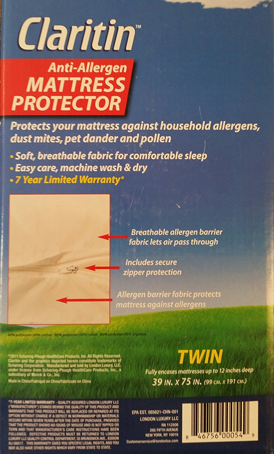 Amazon.com: Claritin Anti-allergen Mattress Protector - Twin by Naruekrit:  Home & Kitchen