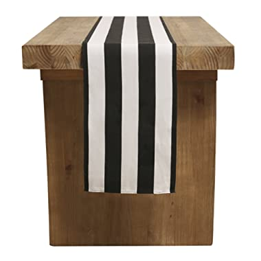 Ling's moment Classical Durable Black and White Striped Table Runner for Wedding Christmas Thanksgiving New Year Eve Party Table Cloth Decor - Cotton Canvas Fabric 2  Wide Stripe,12  x 108  / 9 FT