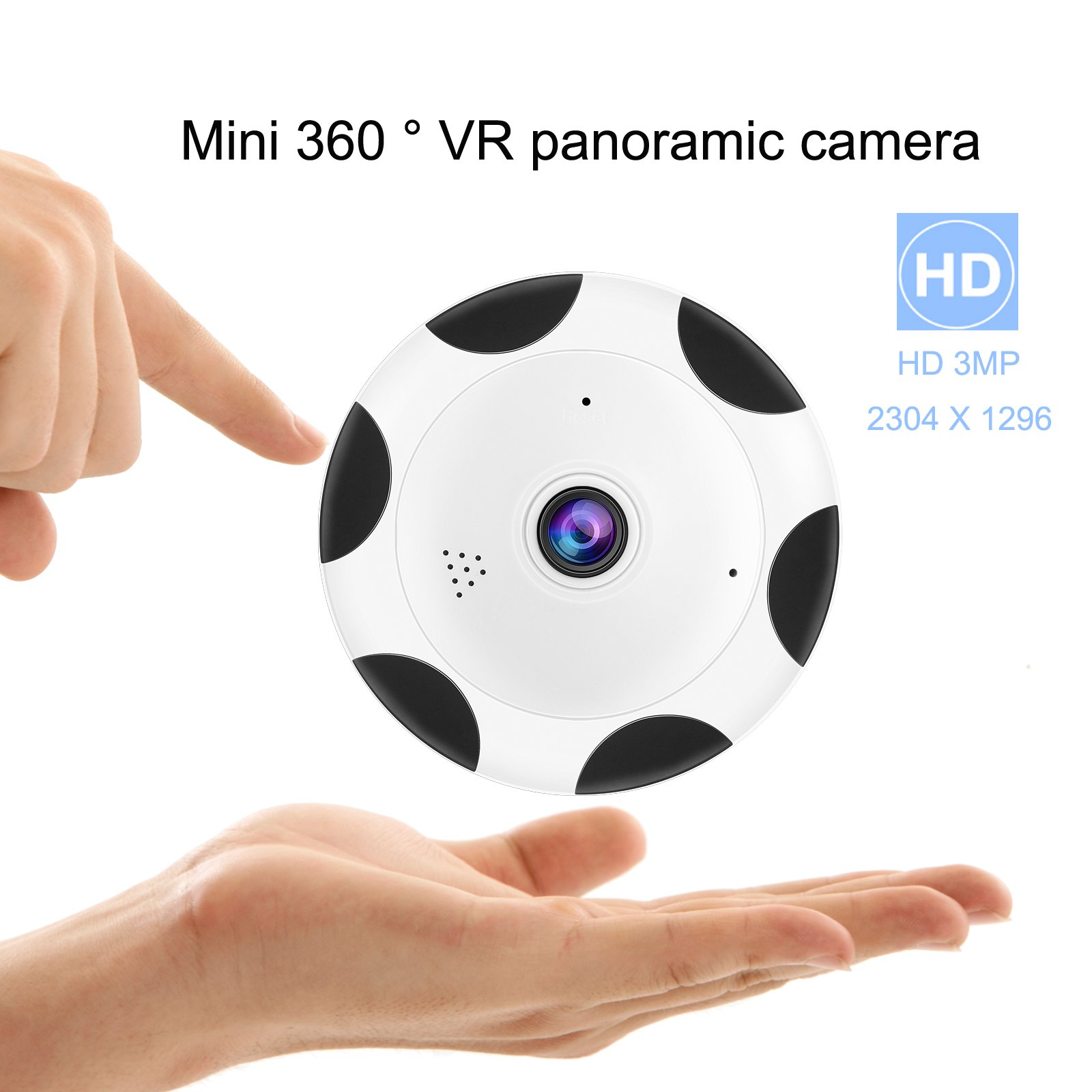 360 3MP WiFi Home Security Mini IP Camera, Baby/Elder/ Pet/Nanny Monitor, HD 2304x1296P Wireless Indoor Security Surveillance CCTV Camera System with APP for iOS, Android, Night Vision,Two-Way Audio by YD-road