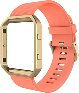 Simpeak Sport Band Compatible with Fitbit Blaze Smartwatch Sport Fitness, Silicone Wrist Band with Meatl Frame Replacement for Fitbit Blaze Men Women, Small, Orange+Rose Gold Frame