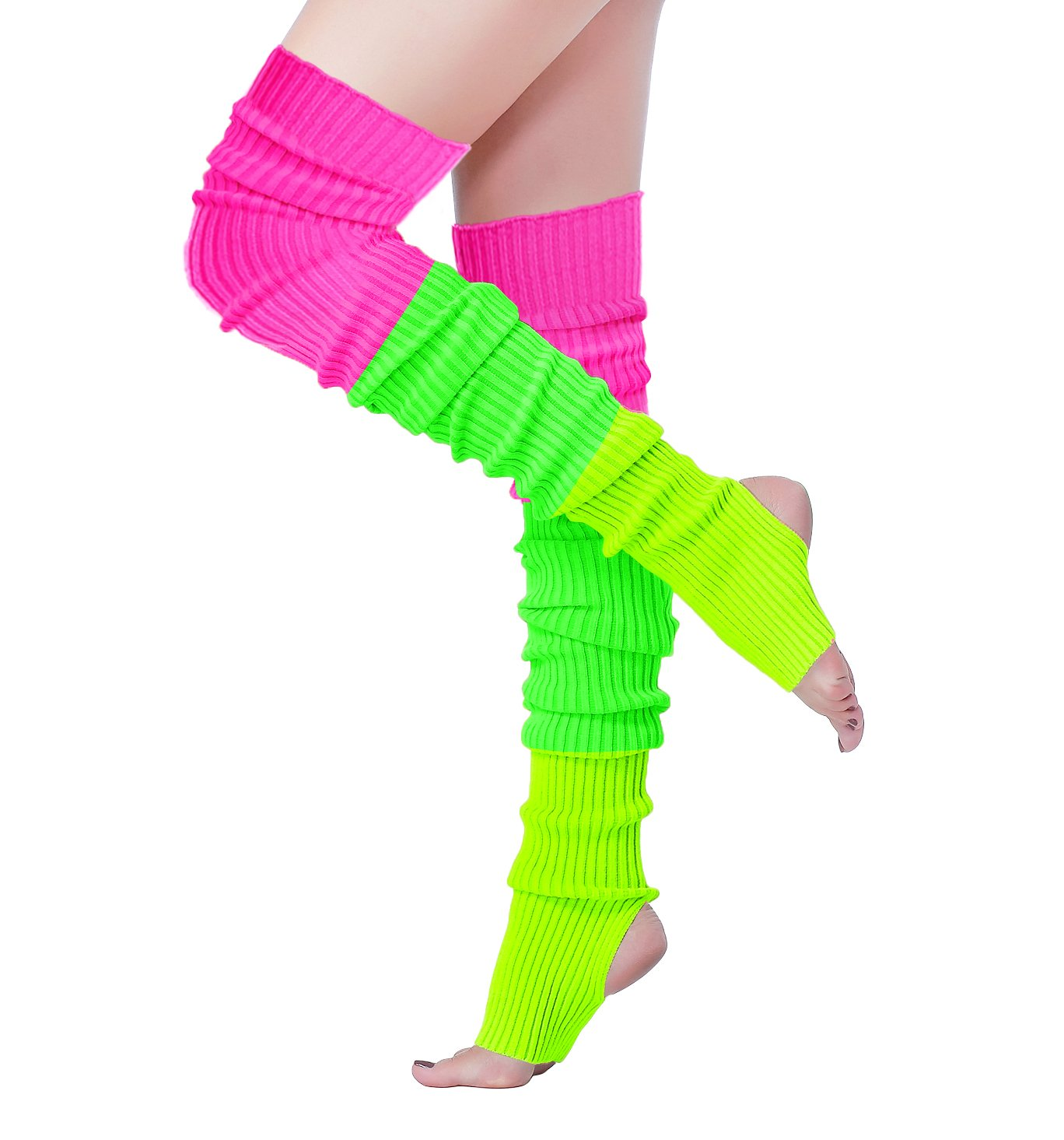 V28 Women 80s Ribbed Knit Stirrup Neon Dance Sports Yoga Long Leg Warmers(One Size, THole80-Mix3D)
