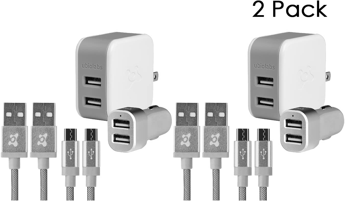 Ubio Labs 2 Pack 2x Dual Wall, 2x Car Charger and 4x 6ft Micro USB Woven Cables