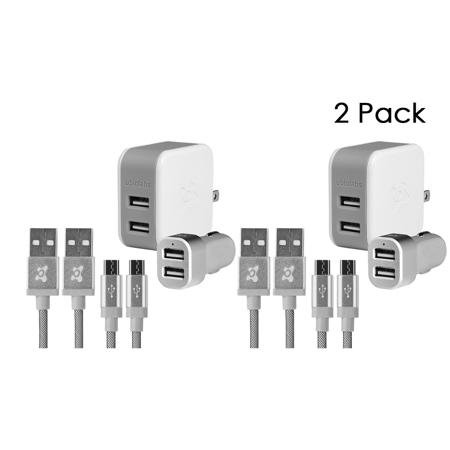 Ubio Labs (2-Pack) 6ft Tangle-Free Micro USB Cable kit for Android, Samsung, HTC, LG, Motorola. 6 Foot Long Woven Charge/sync Cord with Dual USB Wall and car Charger. 2.4A /4.8A (24W) CBB100