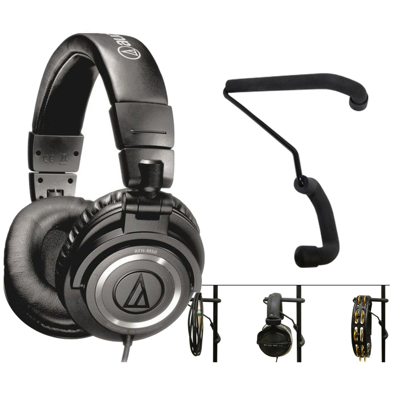 Audio-Technica ATH-M50x Closed Back Monitor Headphones w/ Mic Stand Headphone Holder