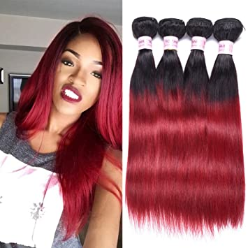 Amazon Com Top Hair Peruvian Ombre Burgundy Hair Extensions Black