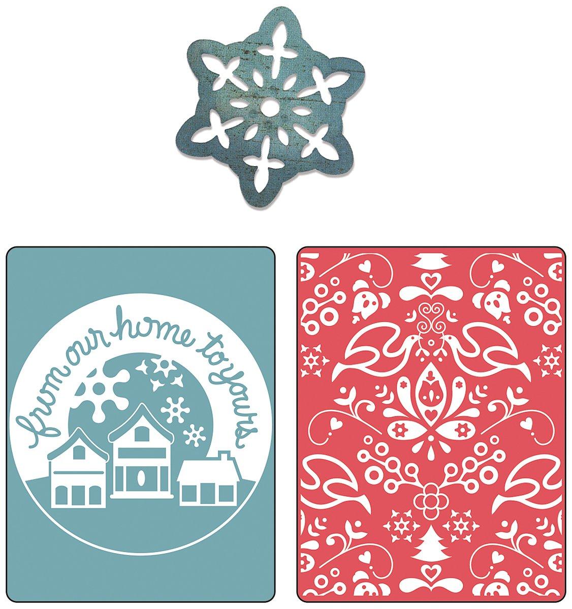 Santa Lucia /& Moguls Set by BasicGrey Sizzix Textured Impressions Embossing Folders with Bonus Sizzlits Die