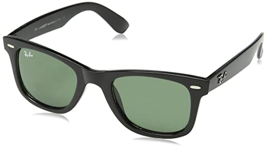 black ray ban wayfarer sunglasses  RAY BAN WAYFARER BLACK RB2140 901 WITH CRYSTAL GREEN LENS 54MM ...