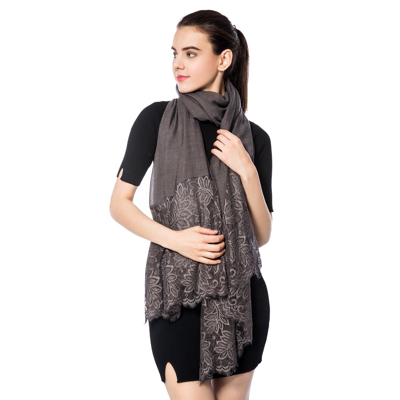 Women Lightweight Fashion Lace Scarf Winter Wrap Shawl Gzcvba Soft Evening Coverup (Gray)