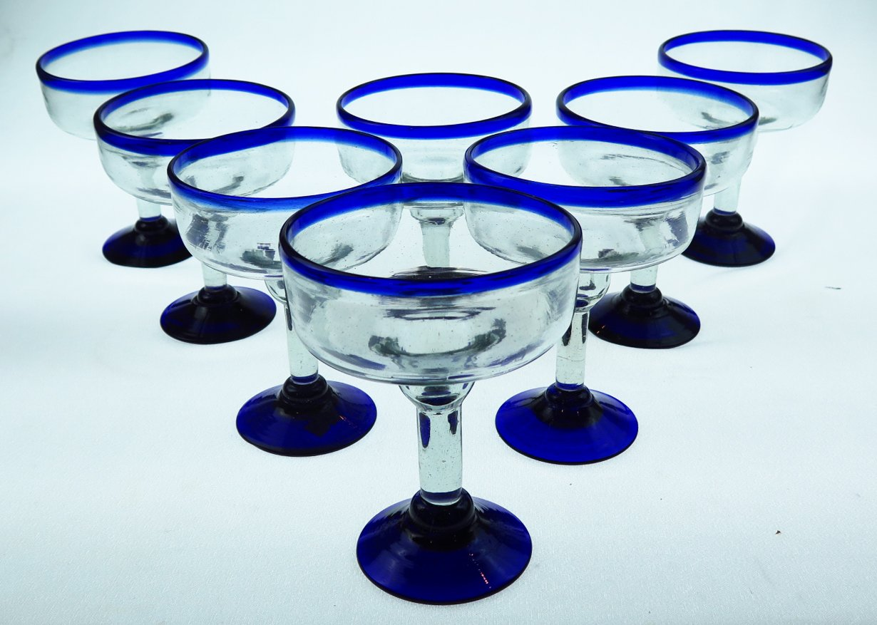 Mexican Glass Margarita 18 Oz. Blue Rim, Hand Blown, set of 8