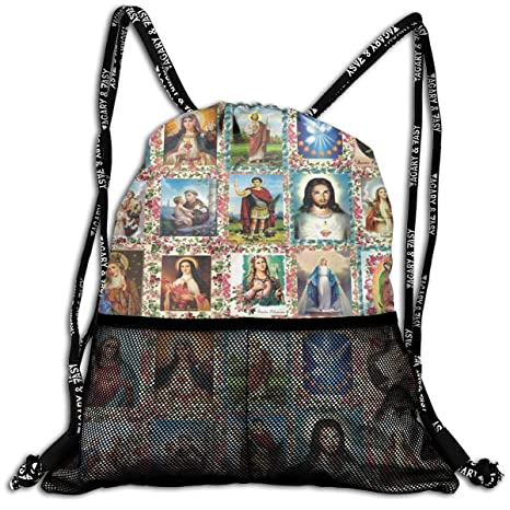 ace585a2783 Amazon.com  ANYWN Catholic Saints Images Collage Drawstring Backpack ...