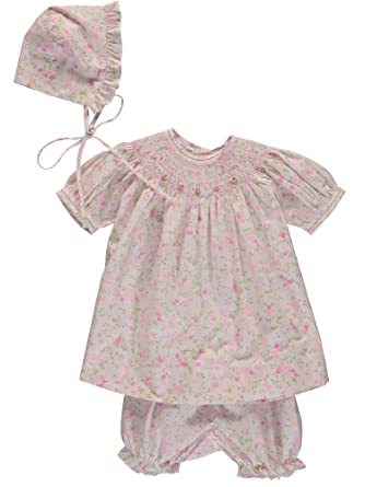 fead58de4fb33 Carriage Boutique Baby Girl Hand Smocked Floral 3pc Bishop Dress