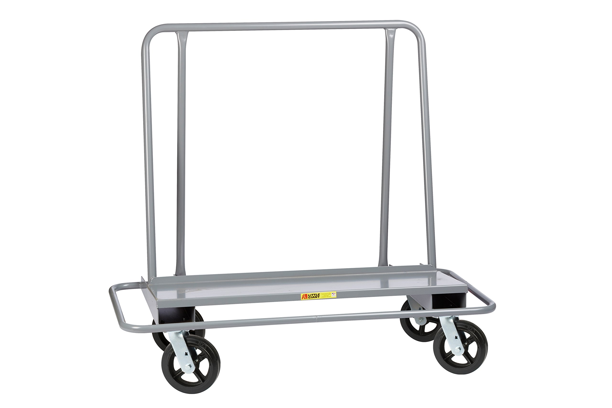 Little Giant DCB-2654-8MR Drywall Cart with Steel Bumper Frame, 4 Swivel, 8'' Mold-On Rubber, Gray