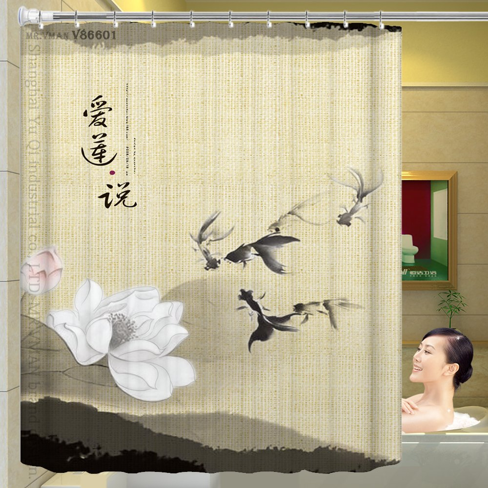 ZnzbztChina wind classical paintings in India ink Lotus Lotus shower curtain upscale curtain wall curtains curtain dressing curtains, wide 1.8 high 1.8