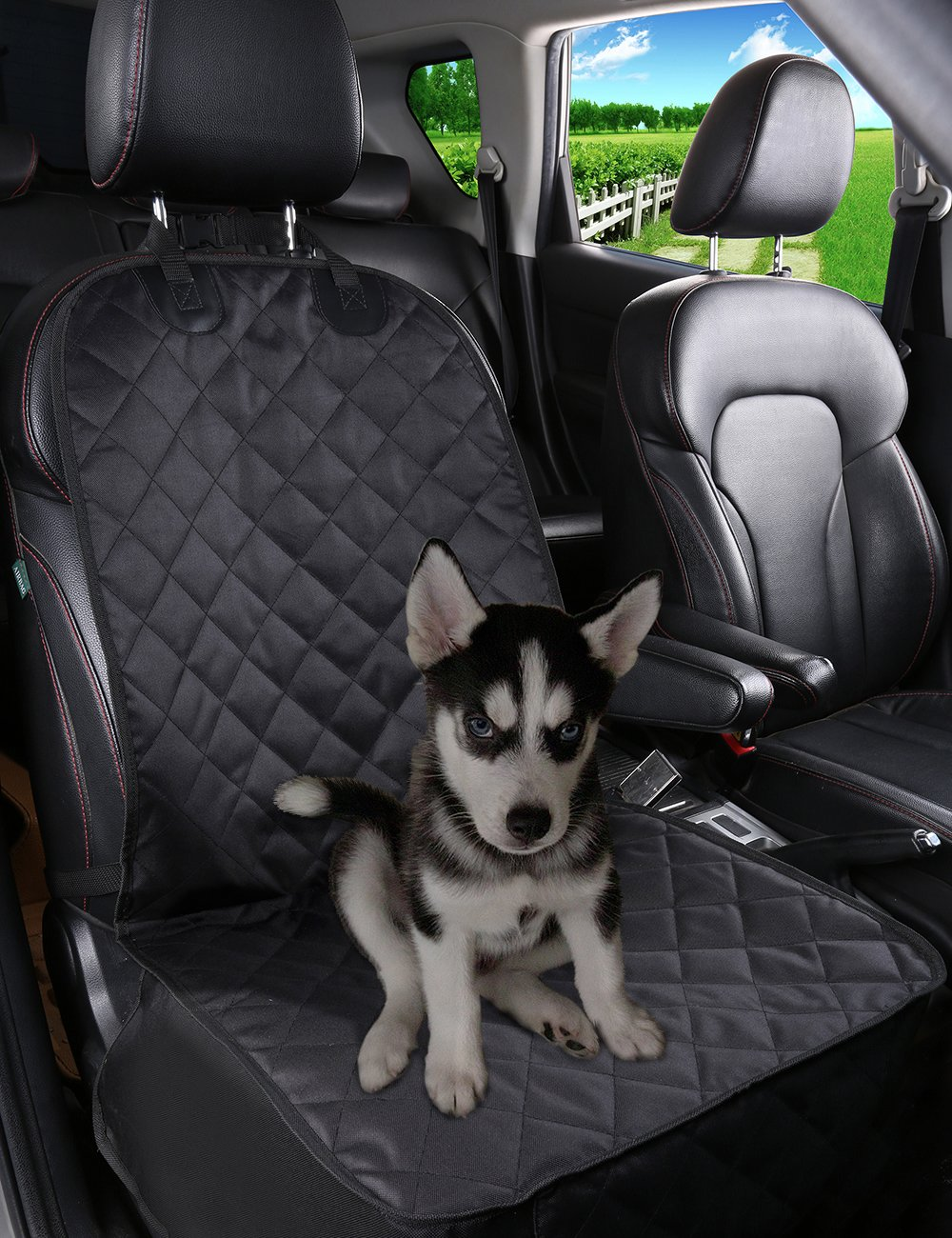 Alfheim Nonslip Rubber Backing Front Seat Cover With Anchor And An Adjustable Pet Dog Car Black One Size Amazoncouk Supplies