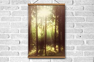 A37mieeooopa Magnetic Poster Wooden Frame Sunbeams in Spruce Tree Forest, Filtered, Nostalgic Color and Grain Wall Art Posters Artwork Wall Paintings for Living Room 24x 36 inch